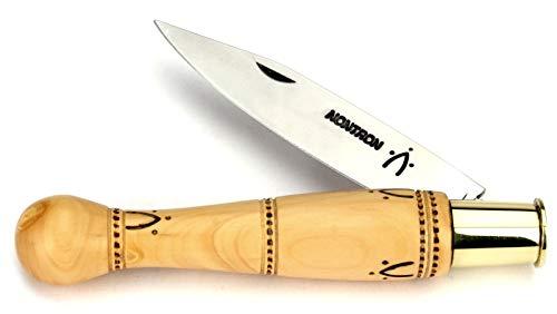 Nontron Messer - 12 cm - Griff Buchsbaum Boule - Klinge XC75 Carbonstahl - Frankreich Taschenmesser Brotzeitmesser mit Klingenfixierung