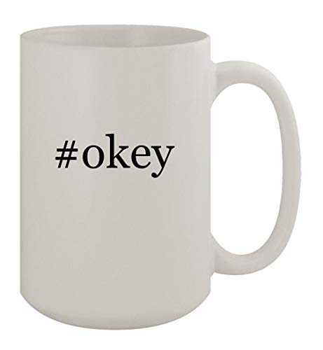 #okey - 15oz Ceramic White Coffee Mug, White