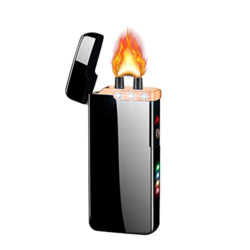 Dual Arc Lighter Double Arc Lighter USB Rechargeable Windproof Flameless Plasma Electronic No Gas Good for Cigar Candle Cigarette (Black)