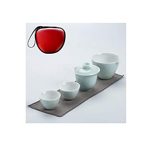 FYRMMD Juego de Tetera de Viaje, 1 Olla 2 Tazas Juego de té de cerámica Kungfu Juego de té portátil para 2 Personas, Viaje de Negocios Oficina G Artículos para el hogar