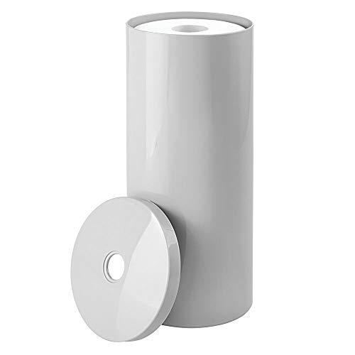 mDesign freistehender Papierrollenhalter – moderner Toilettenpapierhalter stehend fürs Badezimmer – dezenter Klopapierhalter mit Deckel aus Kunststoff – hellgrau