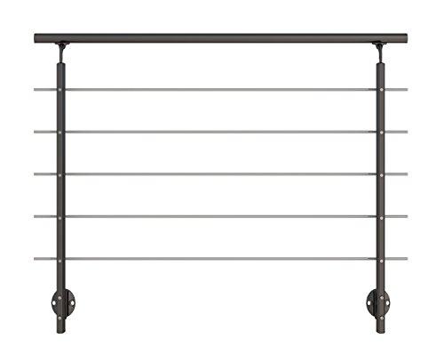 Modernes Geländer-Set in Anthrazit aus Aluminium mit Edelstahlrohren. Für seitliche Montage. Länge 1500 mm (kürz- und verlängerbar). Als Treppengeländer, Brüstungsgeländer, Balkongeländer oder Terrassengeländer einsetzbar. Geeignet für den Innen- und Außenbereich.