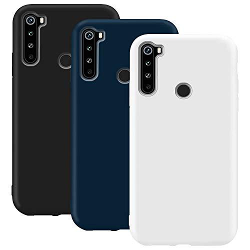 Coque en Silicone pour Xiaomi Redmi Note 8T, Misstars Ultra Mince Souple TPU Gel Mat Bumper Doux Léger Anti Rayure Antichoc Housse Étui de Protection pour Xiaomi Redmi Note 8T, Noir+Bleu Foncé+Blanc