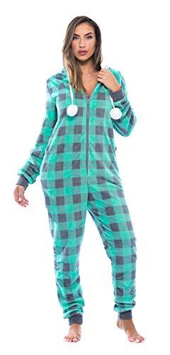 Pijama de una pieza Just Love Buffalo con capucha y forro de sherpa para adulto,  Mint Buffalo Plaid, L