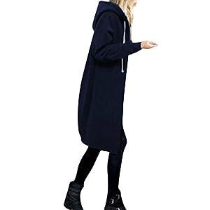 OverDose Damen Herbst Winter Outing Stil Frauen Warm Reißverschluss Öffnen Clubbing Dating Elegante Hoodies Sweatshirt Langen Mantel Jacke Tops Outwear Hoodie Outwear(Marine,EU-38/CN-M)