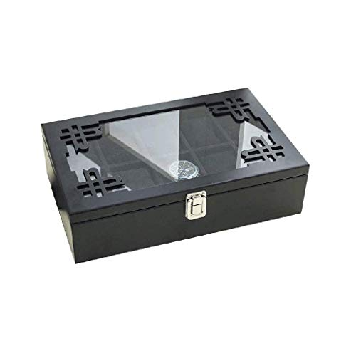SHUMEISHOUT Caja de joyería - Caja de Reloj de Madera, Caja de Reloj Tapa de Vidrio, Soporte de Reloj Reloj extraíble Almohadas de Reloj, Meriones de observación Vestíbulo de Terciopelo, Cierre de me