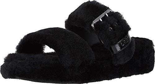 UGG Women's Fuzz Yeah Wedge Sandal, Black, 5 M US