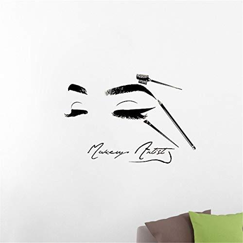 Makeyes Beauty Salon Baber Wall Decals Beauty Face Art Design Sticker Home Room Decor Wall Decal Babershop Women Makeup Vinyl Decoration YMX52 (Black, 42X28CM)
