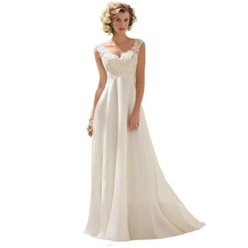 結婚式 ウエディングドレス パーティードレス 二次会ドレス ファスナー お花嫁ドレス ロングドレス エンパイアドレス 姫系 プリンセスドレス ブライダル 洋服 白 (M)