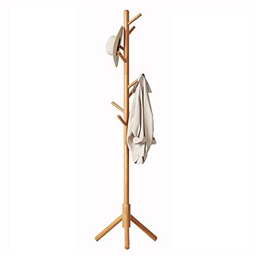 OMYLFQ Soporte de Perchero de Capa de pie Libre de la Capa de pie de la Capa de bambú Soporte con 8 Ganchos Simple Moderno Moderno y Sombrero Soporte Soporte para Bolso de Ropa Accesorios Paraguas