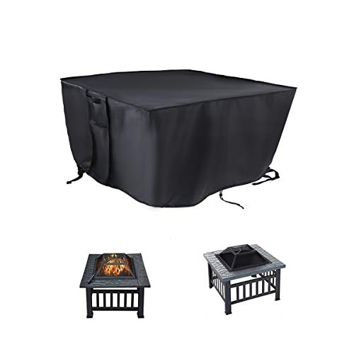 POMER Gas Fire Pit Cover Square 84x84x44cm - Waterproof Heavy Duty Fabric Cover with Silver Coating for Patio Firepit Table