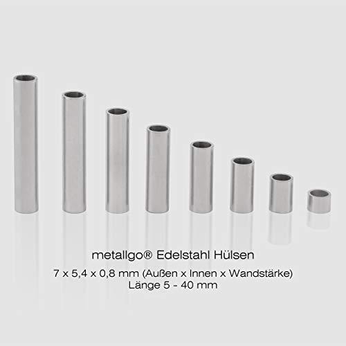 Edelstahl Distanzhülsen, Abstandshülsen – ohne Innengewinde, M5 Schrauben beweglich durchsteckbar – 7 x 5.4 x 0.8 mm (Außen x Innen x Wandstärke) – 20 Stück, Länge 10 mm