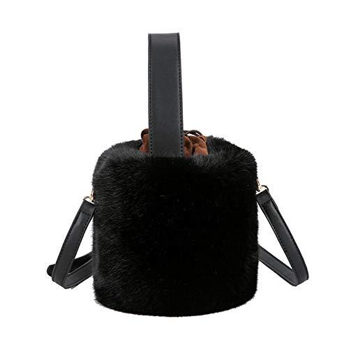 niumanery Bucket Bag Handbag Fashion Faux Fur Winter Bags Women Shoulder Crossbody Black