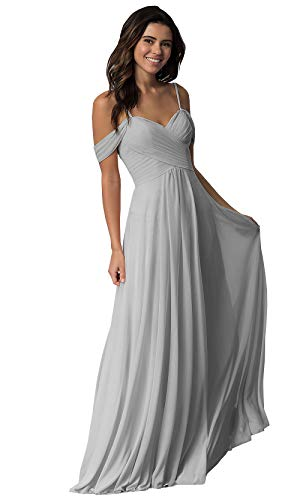 WuliDress Women's Pleated Chiffon A Line Bridesmaid Dress Long Off The Shoulder Prom Party Formal Ball Gown Silver Size 2