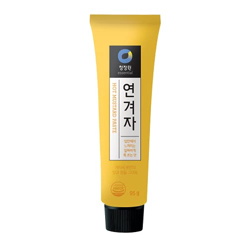 Chung Jung One Korean Premium Hot Spicy Yellow Mustard Paste, No Synthetic Additives, All Natural, 95g