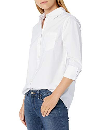 Amazon Essentials Classic-Fit 3/4 Sleeve Poplin Shirt Athletic-Shirts, Infradito Colorati Estivi, con finte Perline, S
