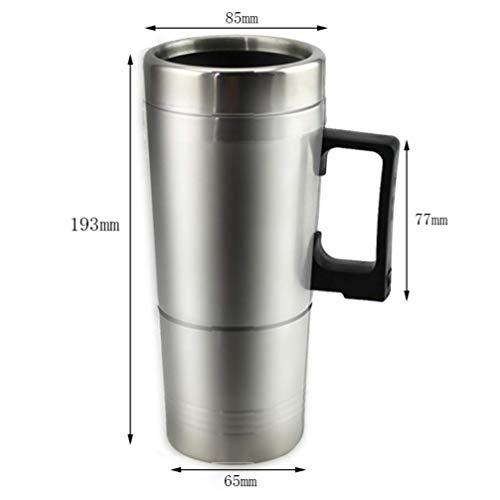 WJH9 Auto-Heizung Cup, Edelstahl Liner 12V / 24V Auto Elektrisch Warmwasser Cup mit Wärmflasche, Autoausrüstung Mobile Wasser-Heizung Isolierung Kaffeetasse,24v