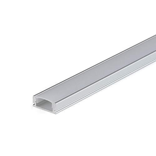 Perfil de aluminio lineal 1707 1 metro plano para tiras Led con tapa (Blanco)