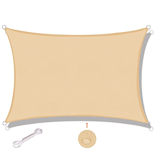 SUNNY GUARD Toldo Vela de Sombra Rectangular 2x2m Impermeable a Prueba de Viento protección UV para Patio, Exteriores, Jardín, Color Arena