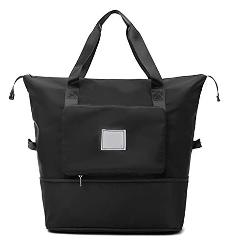 shengyuefeng Faltbare Reisetasche mit großer Kapazität, Sporttasche für Sporttaschen, leichte wasserdichte Handtaschen Schulter-Übernacht-Umhängetasche mit Nasstasche für Damen und Herren (Schwarz)
