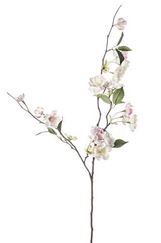 artplants.de Set 5 x Kunstzweig Zierpfirsich Zweig CAMILLES, rosa-weiß, 80cm - Kunst Pfirsich Zweig