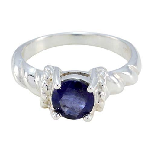 Joyas Plata Good Gemstones Round Shape One Stone Faceted Iolite ring - 925 Silver Blue Iolite Ring - February Birth Aquarius Astrology Good Gemstones Ring