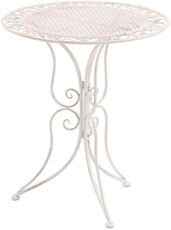 Dehner Gartentisch Provence Stylo,  60 cm, Hhe 70 cm, Metall, wei