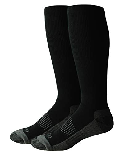 Dickies Men's Light Comfort Compression Over-The-Calf Socks, Black (2 Pairs), Shoe Size: 6-12