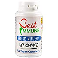 Cápsulas de Vitamina E con fórmula mejorada 100% natural 500 ui, 100% vegano, cápsulas hechas sin maltrato animal