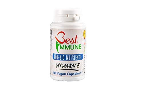 Cápsulas de Vitamina E con fórmula mejorada 100% natural 500UI 100 vegano cápsulas hechas sin maltrato animal