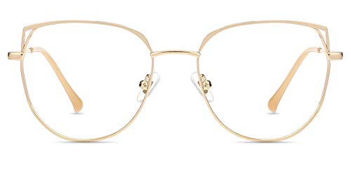 Firmoo Gafas Luz Azul para Mujer Hombre, Gafas Filtro Antifatiga Anti-luz Azul y contra UV400 Ordenador Gaming PC de Gafas Montura de Metal Moda (Oro-c2)