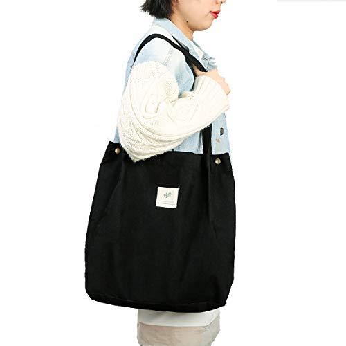 Cloele Cord Umhängetasche Damen, Handtasche cord mit Innentasche, Leicht Damen-Schultertaschen für Arbeit Reisen und Einkaufen (Schwarz)