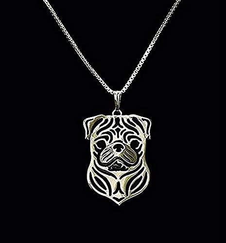 WYDSFWL Collar de Oro 1pcs Collar de Oro Pug Terrier 3D Recorte Cachorro Cachorro Amante del Perro Colgante Collares conmemorativos Colgante para Mujeres Hombres Regalos