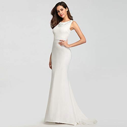 BGGYF Hochzeitskleid Korsett Plus Size Spitze Brautkleid Meerjungfrau Ärmellos O-Ausschnitt Elegantes Brautkleid Ballkleider Stickerei Mode Damen
