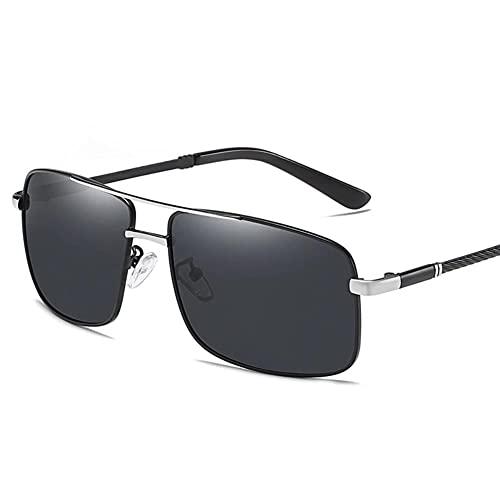DovSnnx Unisex Polarizadas Gafas De Sol 100% Protección UV400 Sunglasses para Hombre Y Mujer Gafas De Aviador Gafas De Ciclismo Ultraligero Lente Gris con Montura Cuadrada Plateada Negra