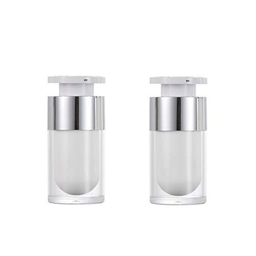 2 STÜCKE 15 ml/30 ml/50 ml Leere Nachfüllbar Weiß Acryl hochwertigen Airless Vakuumpumpe Creme Lotion Foundation Flasche Dispenser Vial Reisecreme Lotion Toner Container Topf (15ML)