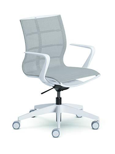Sedus se:joy Bürostuhl, Drehstuhl, Konferenzstuhl, Designstuhl, Schreibtischstuhl Lichtgrau/weiß 86 x 78 x 99 cm