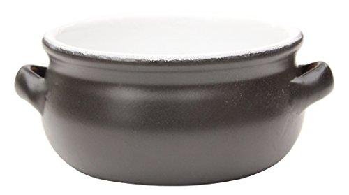 Amazing Cookware Plat Rond en Terre Cuite, Céramique, Noir Mat/Blanc, 15 cm