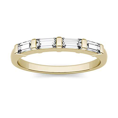 Charles & Colvard Forever One anillo de boda - Oro amarillo 14K - Moissanita de 4.0 mm de talla baguette, 0.464 ct. DEW, talla 19,5