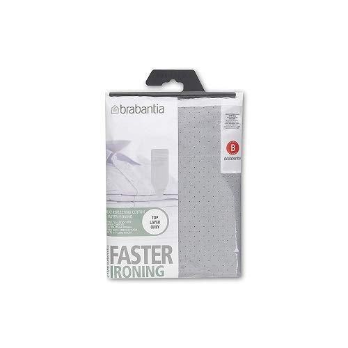 Brabantia Ironing Board Cover (Top layer only)- 124 x 38 cm, Standard, Metallised Silver