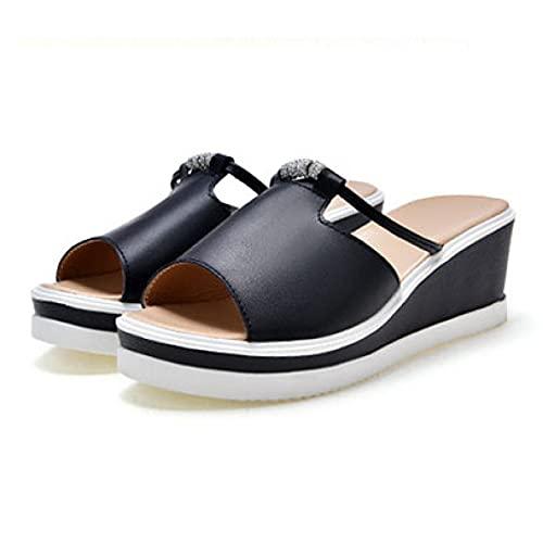 Sandalias para mujer con cuentas y plataforma de plataforma antideslizante con puntera abierta, Black, 35.5 EU
