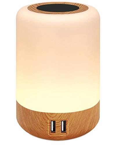 salipt Luz de Nocturna LED,con 4 puertos de carga USB, Lámpara de Mesita de Noche Inteligente, Control Tactil, Regulable,Portátil, Cambio de Color RGB para Niños, Habitación (Blanco Cálido)