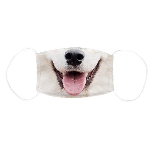 Blingko Kinder Mundschutz Mit Motiv Wiederverwendbar für Mädchen und Jungen Face Cover Lustiger Hund gedruckt Waschbar Multifunktionstuch Augenschutz Atmungsaktiver (J)