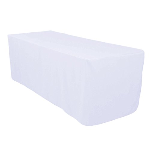 Surmente Tablecloth 6 ft Rectangular Polyester Tablecloth Tablecloths for Rectangle Tables for Weddings, Banquets, or Restaurants (White) …