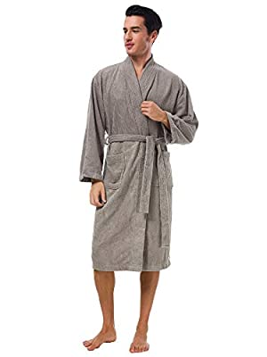 SIORO Mens Robe Terry Cloth Kimono Bathrobe Cotton Soft Shower Towel Bath Robes Calf Length Housecoat for Spa Hotel Hot Tub