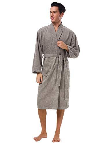 SIORO peignoir éponge éponge pour hommes Kimono Robes en coton doux longue robe de chambre chaud Spa hôtel Peignoir de bain
