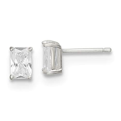 diamond2deal 925スターリングシルバー6?x 4キュービックジルコニアスタッドイヤリング