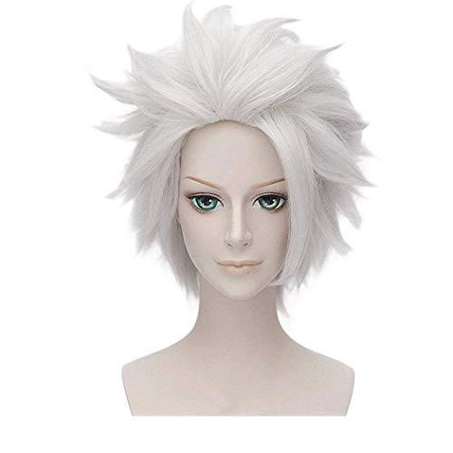 FALAMKA Ursula Wig Grey Short Layered Wig White Amine Cosplay Costume Halloween Wig for Adult