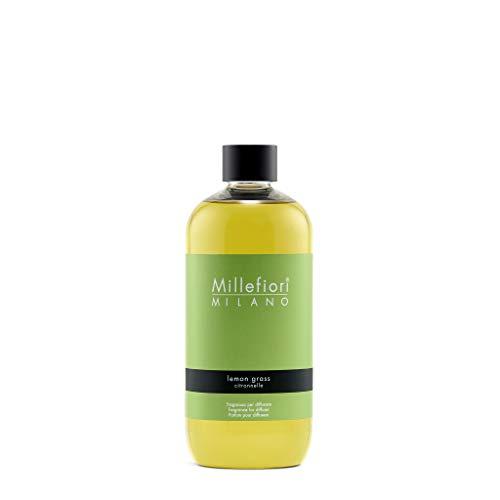 Millefiori 7RELG Lemon Grass Nachfüllflasche 500 ml für Raumduft Diffuser Natural, Plastik, Gelb, 8.1 x 6.5 x 17.7 cm