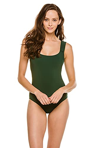 Karla Colletto Women's Buttons Over The Shoulder One Piece Swimsuit Spruce 10